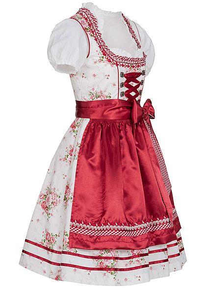 Seventyseven Lifestyle Damen Dirndl Kleid mit Schürze & Bluse rot weiss