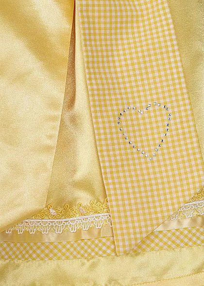 Seventyseven Lifestyle Damen Dirndl Kleid mit Schürze & Bluse gelb weiss