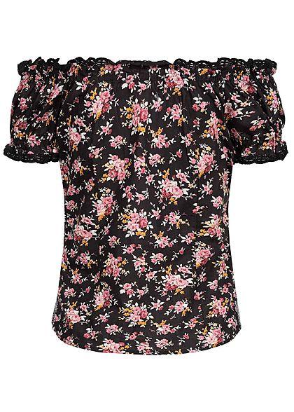 Seventyseven Lifestyle Damen Off-Shoulder Trachten Bluse Blumen Print schwarz