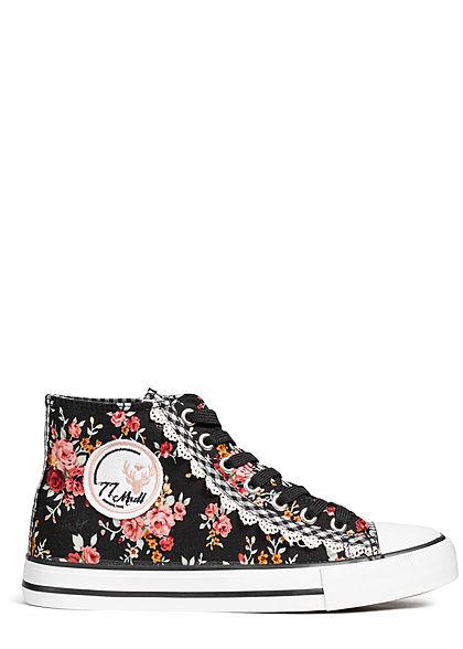 Seventyseven Lifestyle Damen Trachten Canvas Sneaker Blumen Print schwarz
