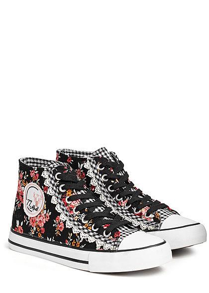 Seventyseven Lifestyle Damen Trachten Canvas-Sneaker Blumen Print schwarz