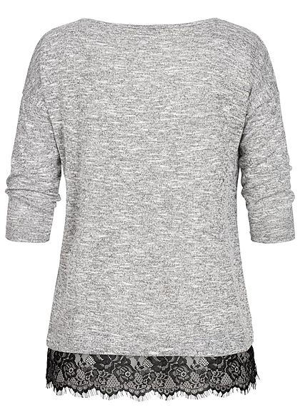 Seventyseven Lifestyle Damen 3/4 Sleeve Lace Detail Shirt hell grau schwarz