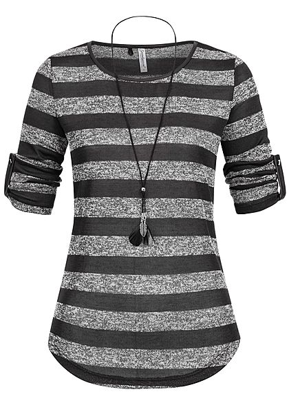 Seventyseven Lifestyle Damen 3/4 Sleeve Striped Turn-Up Shirt Feather Chain schwarz