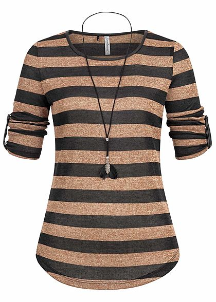 Seventyseven Lifestyle Damen 3/4 Sleeve Striped Turn-Up Shirt Feather Chain c. braun