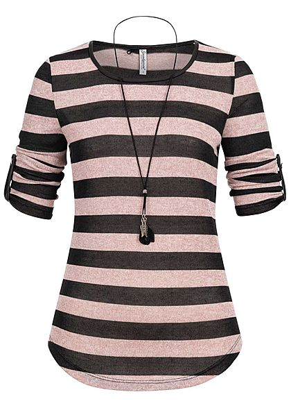 Seventyseven Lifestyle Damen 3/4 Sleeve Striped Turn-Up Shirt Feather Chain rosa