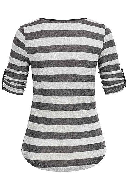 Seventyseven Lifestyle Damen 3/4 Sleeve Striped Turn-Up Shirt Feather Chain hell grau