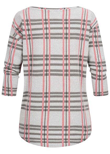 Seventyseven Lifestyle Damen 3/4 Sleeve Oversize Soft Touch Sweater hell grau rosa