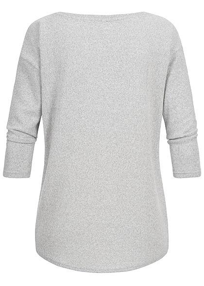 Seventyseven Lifestyle Damen 3/4 Sleeve Oversize Soft Touch Sweater hell grau