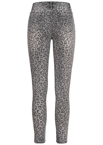 Seventyseven Lifestyle Damen HW Skinny Jeans 5-Pockets Leo Print dunkel grau