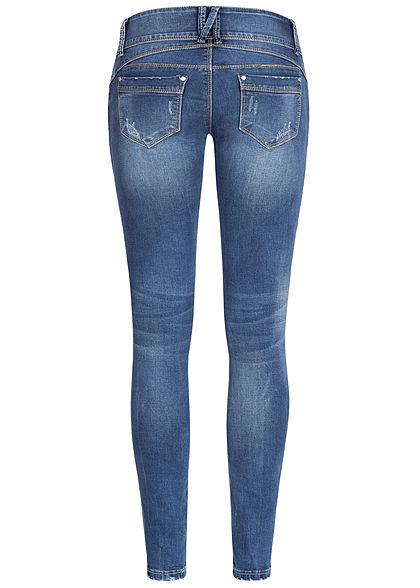 Seventyseven Lifestyle Damen Skinny Jeans 5-Pockets Crash Look dunkel blau denim