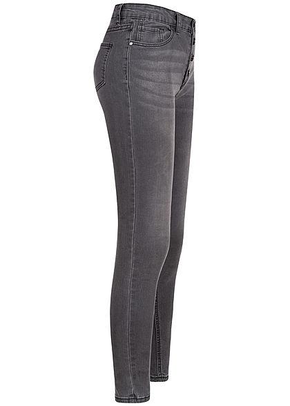 Seventyseven Lifestyle Damen High-Waist Skinny Jeans 5-Pockets dunkel grau denim