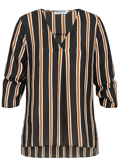 Seventyseven Lifestyle Damen 3/4 Sleeve Turn-Up Blouse Stripes Print braun schwarz