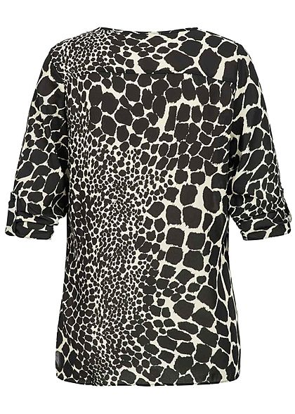Seventyseven Lifestyle Damen 3/4 Sleeve Turn-Up Blouse Snake Print schwarz beige