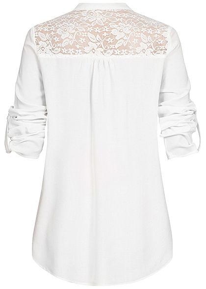 Seventyseven Lifestyle Damen Turn-Up Lace Blouse Shirt off weiss
