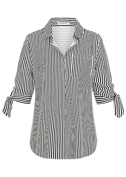 Seventyseven Lifestyle Damen Striped Turn-Up Blouse Shirt schwarz weiss
