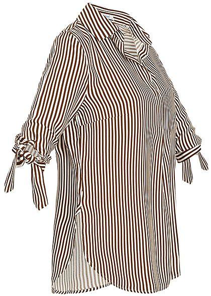 Seventyseven Lifestyle Damen Striped Turn-Up Blouse Shirt caramel braun weiss