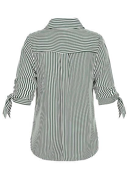 Seventyseven Lifestyle Damen Striped Turn-Up Blouse Shirt dunkel grün weiss