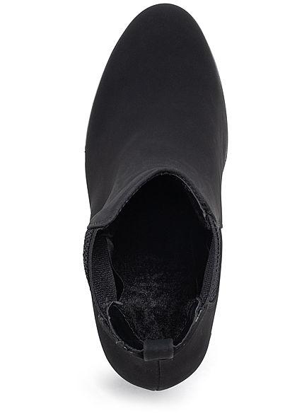 Seventyseven Lifestyle Damen Stiefelette Blockabsatz 8cm Kunstleder schwarz
