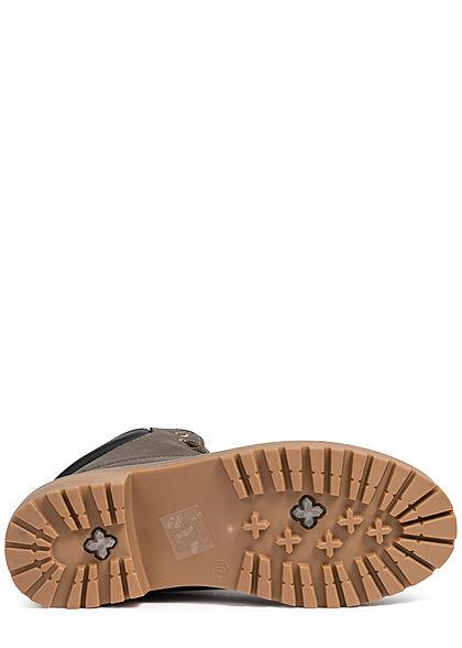 Seventyseven Lifestyle Damen Worker Boots Stiefelette Kunstleder dunkel grau khaki