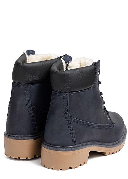 Seventyseven Lifestyle Damen Worker Boots Stiefelette Kunstleder navy blau