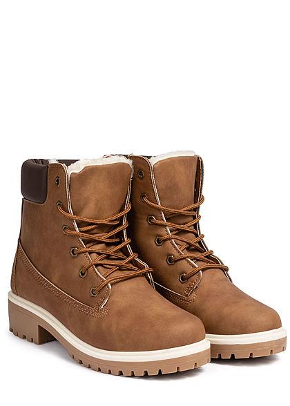 Seventyseven Lifestyle Damen Worker Boots Stiefelette Kunstleder braun