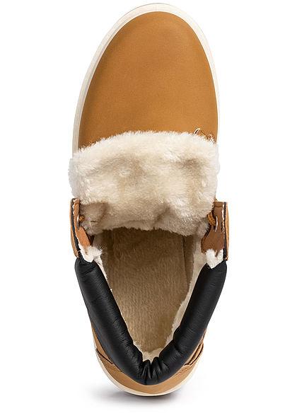 Seventyseven Lifestyle Damen Worker Boots Stiefelette Kunstleder camel braun