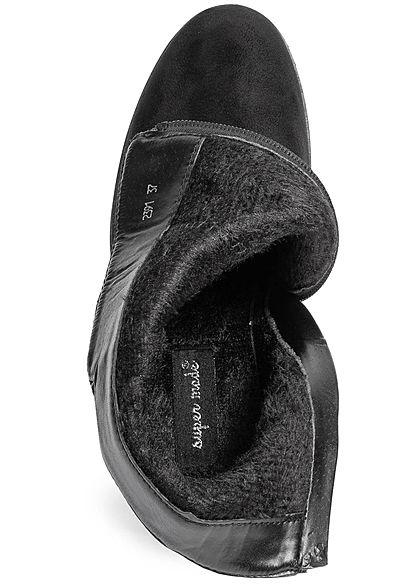 Seventyseven Lifestyle Damen Stiefelette Zipper Blockabsatz 10cm schwarz
