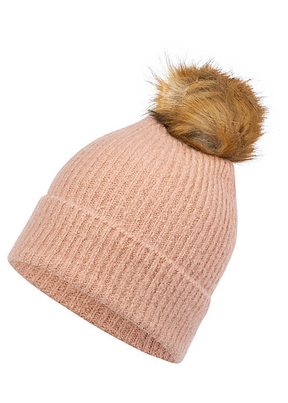 ONLY Damen Pom Pom Strick Beanie misty rosa