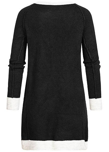 ONLY Damen Mini Strick Kleid lockerer Schnitt schwarz weiss