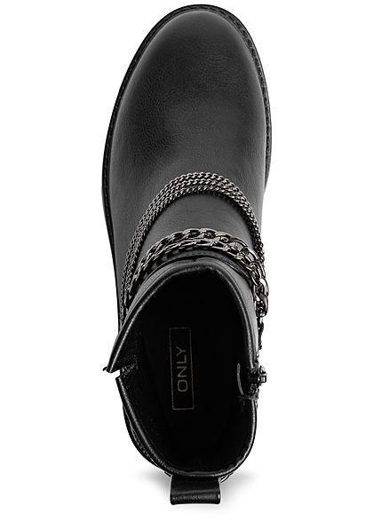 ONLY Damen Worker Boots Stiefelette Zipper Deko Ketten schwarz