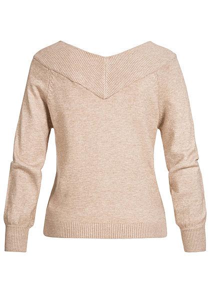 JDY by ONLY Damen NOOS Off-Shoulder Pullover beige melange