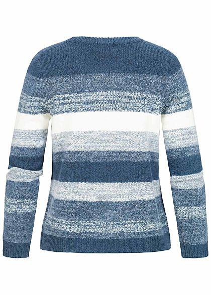 ONLY Damen Strick Pullover Streifen bering sea blau