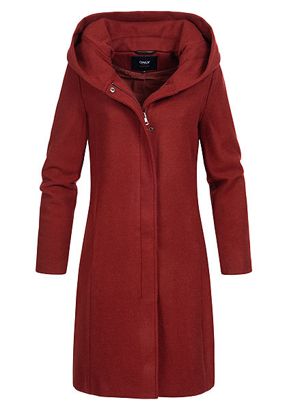 ONLY Damen Woll Coatigan Jacke überlappende Kapuze 2-Pockets merlot bordeaux rot