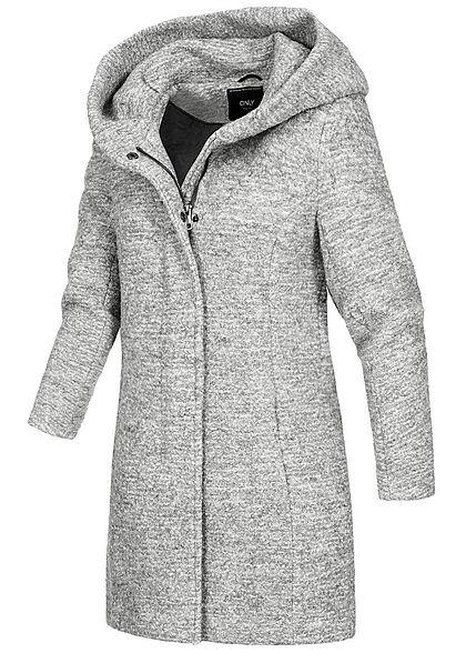 ONLY Damen NOOS Boucle Woll Coatigan Jacke überlappende Kapuze hell grau melange