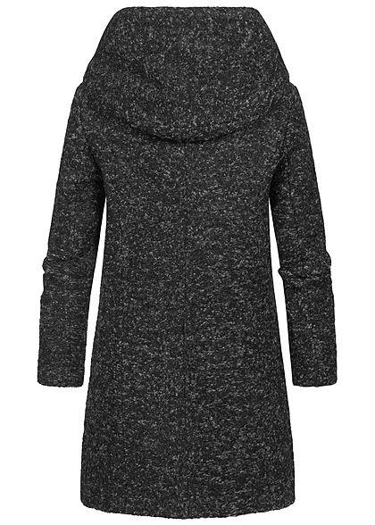 ONLY Damen NOOS Boucle Woll Coatigan Jacke überlappende Kapuze dunkel grau melange