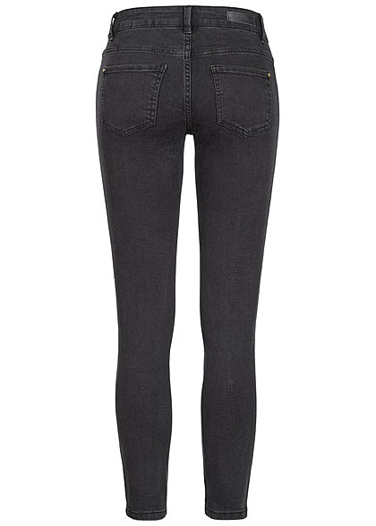 JDY by ONLY Damen Skinny Jeans 5-Pockets Kontraststreifen Regular Waist schwarz denim