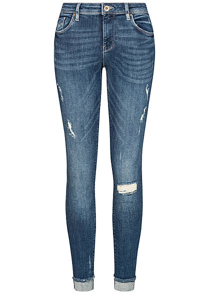 ONLY Damen Ankle Skinny Jeans 5-Pockets Destroy Look dunkel blau denim