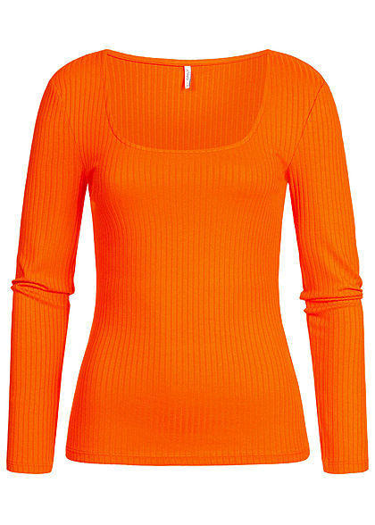ONLY Damen Ripp Longsleeve Pullover orange