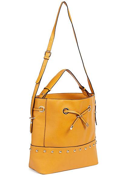 Hailys Damen Handtasche Deko Nieten mustard gelb gold