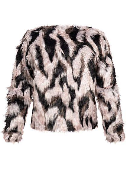 Hailys Damen Kunstfell Jacke offener Schnitt rosa schwarz