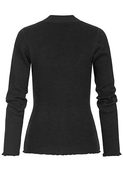 Hailys Damen High-Neck Sweater Pullover schwarz