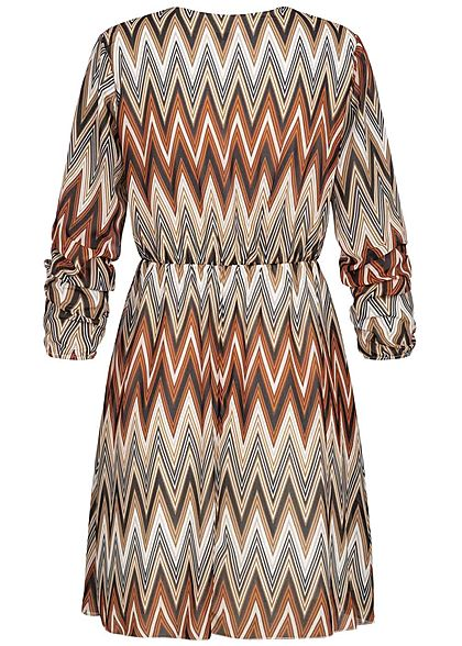 Hailys Damen V-Neck Chiffon Kleid Zick Zack Print multicolor