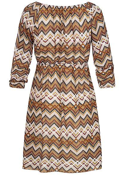 Hailys Damen Off-Shoulder Chiffon Kleid Zick Zack Print pumpkin orange beige
