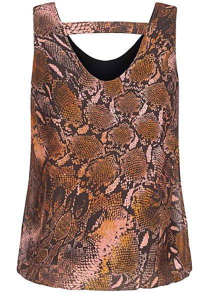 Hailys Damen Chiffon Top Schlangen Print orange braun
