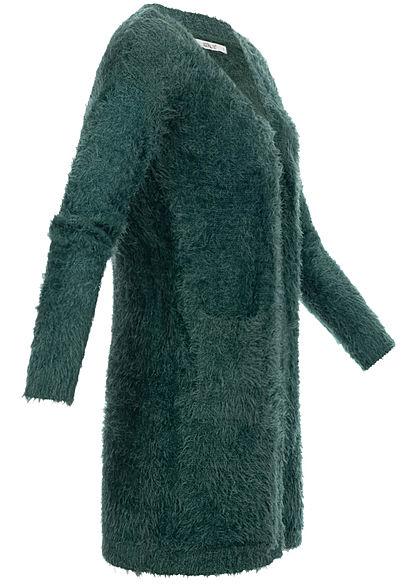 Hailys Damen Cardigan 2-Pockets offener Schnitt dunkel grün