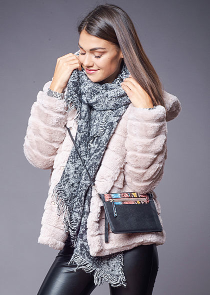 Hailys Damen Kunstfell Jacke Kapuze 2-Pockets rosa