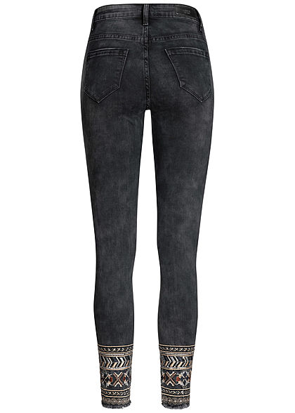 Hailys Damen Skinny Jeans 5-Pockets Regular Waist Stickerei schwarz denim