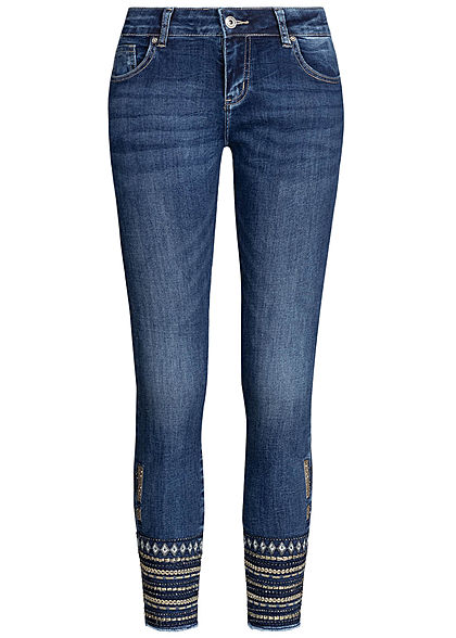 Hailys Damen Ankle Skinny Jeans 5-Pockets Strasssteine Stickerei medium blau denim