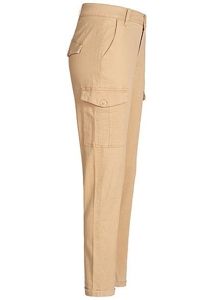 Hailys Damen Cargo Jeans Hose 4-Pockets camel beige