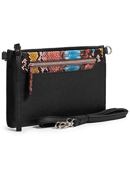 Hailys Damen Mini Handtasche inkl. Geldtasche Schlangenhaut Optik schwarz camel braun